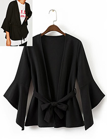 Elegant Black Pure Color Decorated V-neckline Blouse