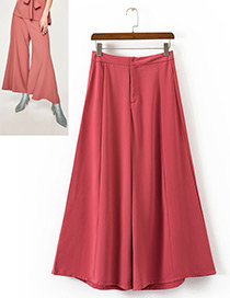 Elegant Watermelon Red Pure Color Decorated Wide-leg Trousers