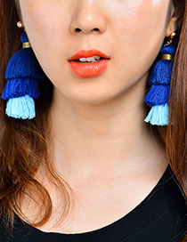 Bohemia Sapphire Blue Color-matching Decorated Tassel Earrings