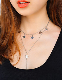 Vintage Silver Color Star Shape Decorated Double Layer Choker