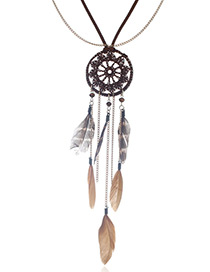 Bohemia Coffee Feather Decorated Necklace