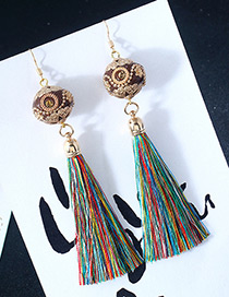 Vintage Multi-color Ball Shape Decorated Earrings