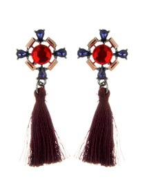Fashion Red Long Tassel Decorated Geometric Shape Earrings