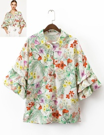Fashion Multi-color Flower Pattern Decorated Three-quarter Sleeves Blouse