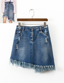 Fashion Blue Tassel Decorated Irregular Shape Skirt