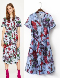 Fashion Multi-color Flower Pattern Decorated Short Sleeves Dress