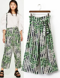 Trendy Multi-color Leaf Pattern Decorated Ultra-wide-leg Trousers