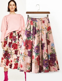 Trendy Multi-color Flower Pattern Decorated Simple Skirt
