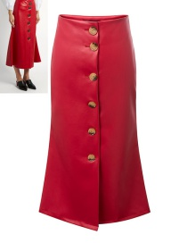 Trendy Red Pure Color Decorated Single-breasted Skirt