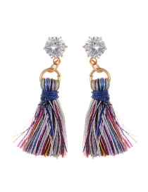 Fashion Multi-color Diamond&tassel Decorated Pure Color Earrings
