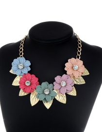 Fashion Multi-color Leaf&flower Decorated Simple Necklace
