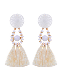 Bohemia Beige Tassel Decorated Earrings