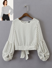 Lovely White Puff Sleeves Decorated Blouse