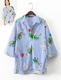 Fashion Blue Flower Shape Decorated Shirt