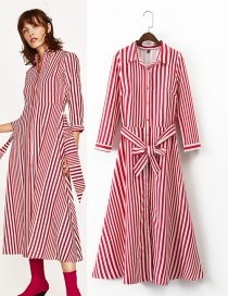 Fashion Red Color-matching Decorated Shirt Dress