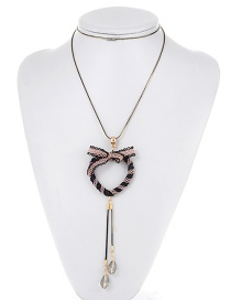 Fashion White Bowknot Decorated Long Necklace