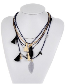 Bohemia Dark Blue Feather Shape Decorated Multilayer Necklace
