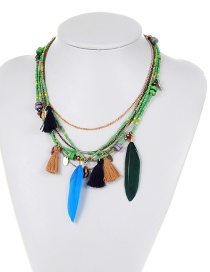Bohemia Green Feather Shape Decorated Multilayer Necklace