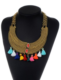 Retro Gold Color Hollow Out Decorated Tassel Double Layer Necklace