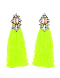 Bohemia Fluorescent Yellow Tassel Decorated Long Earrings
