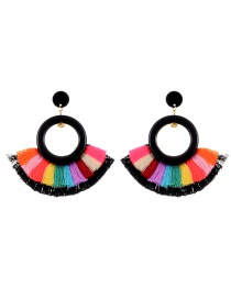 Exaggerate Black Round Shape Decorated Tassel Earrings