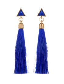Bohemia Sapphire Blue Triangle Shape Decorated Tassel Earrings
