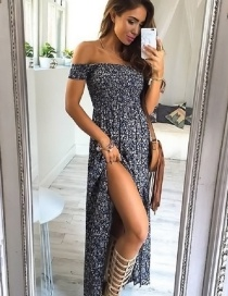 Lovely Blue Off Shoulder Decorated Long Dress