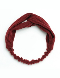 Fashion Claret Red Pure Color Decorated Hair Band