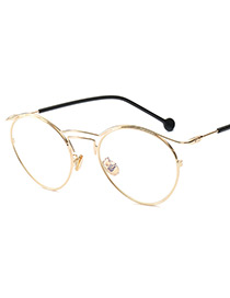 Fashion Gold Color Round Shape Decorated Sunglasses