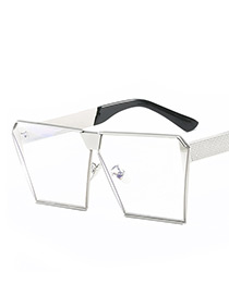 Fashion Silver Color Trapezoid Shape Decorated Sunglasses