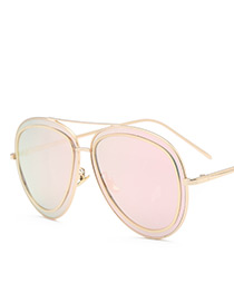 Fashion Pink Double Layer Decorated Sunglasses