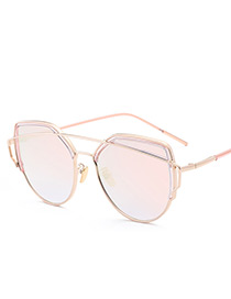 Vintage Pink Pure Color Decorated Sunglasses