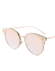 Vintage Champagne Color-matching Decorated Swing Shape Sunglasses