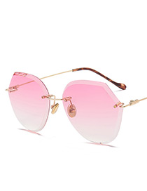 Vintage Pink Pure Color Decorated Irregular Sunglasses
