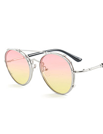 Vintage Pink+yellow Metal Frame Decorated Round Sunglasses