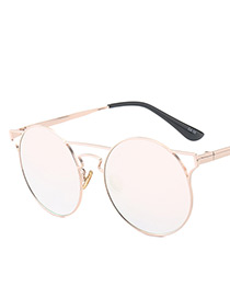 Vintage Light Pink Hollow Out Decorated Sunglasses