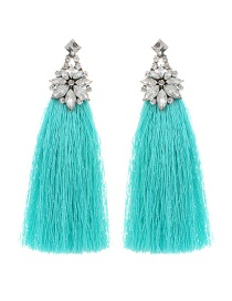 Bohemia Blue Flower Shape Decorated Tassel Earrings