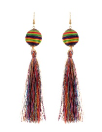 Bohemia Multi-color Round Shape Decorated Tassel Earrings