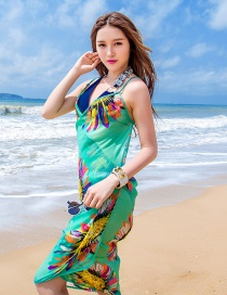 Fashion Light Blue Flower Pattern Decorated Dress
