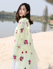 Fashion Light Yellow Flower Pattern Decorated Scarf