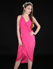 Fashion Plum Red Pure Color Decorated Dreess