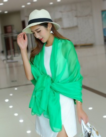 Fashion Light Green Pure Color Decorated Scarf