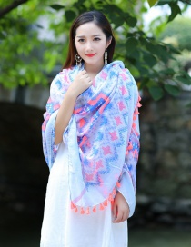 Fashion Blue+pink Tassel Decorated Scarf