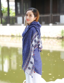 Fashion Dark Blue+white Flower Pattern Decorated Scarf
