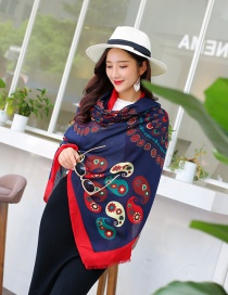 Fashion Red+dark Blue Cashew Nuts Pattern Decorated Scarf