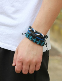 Fashion Black+blue Color Matching Decorated Bracelet (3 Pcs)