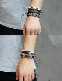 Fashion Coffee+white Color Matching Decorated Bracelet