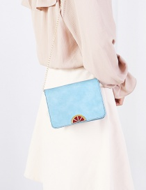Fashion Blue Square Shape Decorated Shoulder Bag