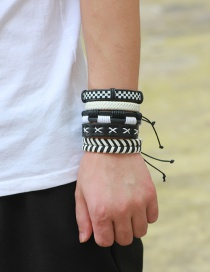 Fashion White+black Pure Color Decorated Bracelet (5 Pcs)