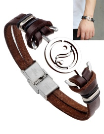 Fashion Brown Taiji Shape Decorated Bracelet